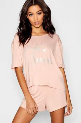 boohoo Diamante Bride's Squad PJ Short Set