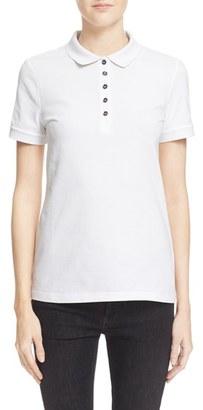 Women's Burberry Check Trim Pique Polo Shirt $195 thestylecure.com