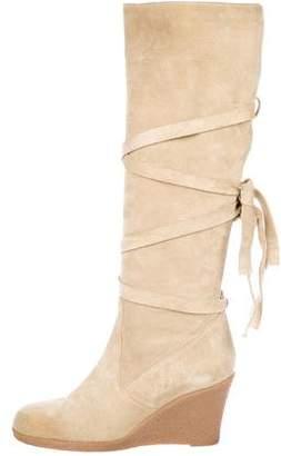 Prada Suede Wedge Knee-High Boots