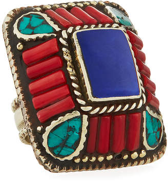 Devon Leigh Lapis, Coral & Turquoise Rectangle Ring, Adjustable Size