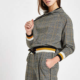 River Island Womens Petite brown check long sleeve hoodie