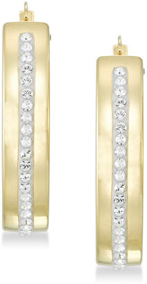 Swarovski Signature Gold Diamond Accent Crystal Hoop Earrings in 14k Gold over Resin