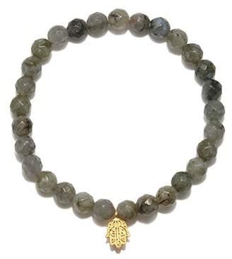 Satya Jewelry Womens Labradorite Gold Hamsa Stretch Bracelet