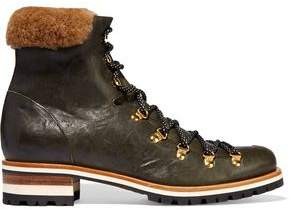 Rupert Sanderson Hamilton Shearling-Trimmed Leather Boots