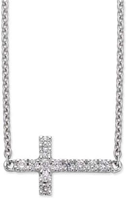 Macy's Diamond Side Cross Pendant Necklace (1/10 ct. t.w.) in 14k White Gold