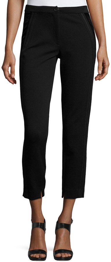 Giorgio Armani Giorgio Armani Velvet-Side Slim Cropped Pants, Black