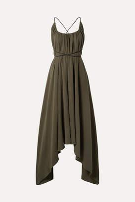 Caravana - Takax Leather-trimmed Asymmetric Cotton-gauze Maxi Dress - Army green