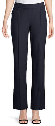Eileen Fisher Washable Stretch-Crepe Slim Boot-Cut Seam Pants