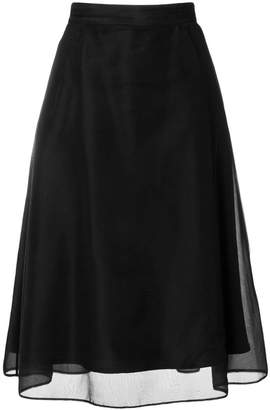 Thom Browne Lace-up Back A-line Skirt In Soft Tulle