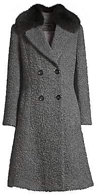 Sofia Cashmere Women's Fox Fur Collar Princess Seam Coat