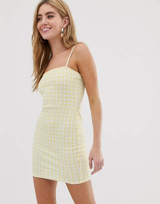 Daisy Street square neck cami dress in gingham