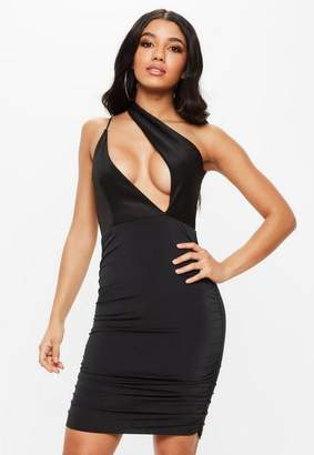 Missguided Black Scuba Slinky One Shoulder Bodycon Dress