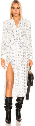 Rotate ROTATE Polka Dots Belted Slit Dress in Bright White | FWRD