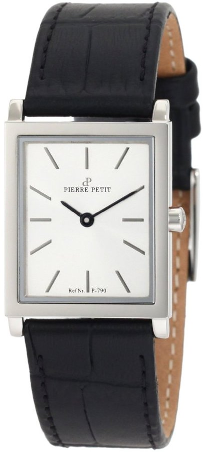 Pierre Petit Women's P-790B Serie Nizza Square Case Black Genuine Leather Watch