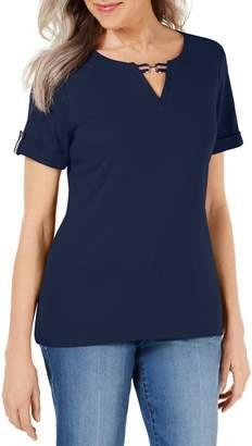 Karen Scott Petite Ribbon Trim Short Sleeve Top