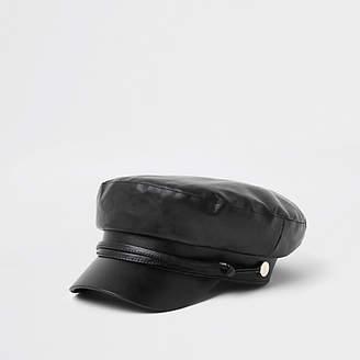 River Island Womens Black rope trim baker boy hat
