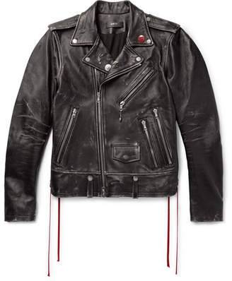 Amiri Distressed Embellished Leather Biker Jacket
