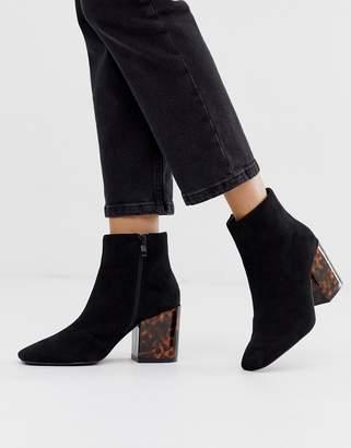 Parker Raid RAID black tortoiseshell heel ankle boots with square toe