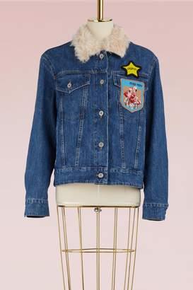 Miu Miu Denim jacket with mohair collar