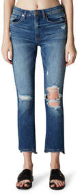 High-Rise Ripped-Knee Faded Skinny Jeans
