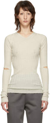 Helmut Lang White Slash Rib V-Neck Sweater