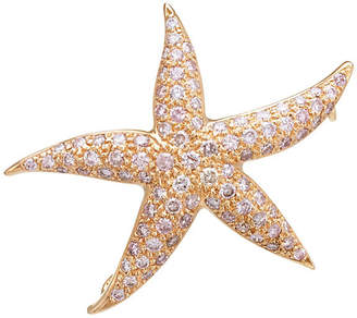 One Kings Lane Vintage Rose Gold & Pink Diamond Starfish Brooch - Precious & Rare Pieces