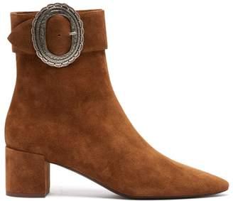 Saint Laurent Joplin Western Suede Boots - Womens - Tan