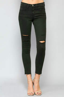 Flying Monkey Olive Distressed Denim Jeans