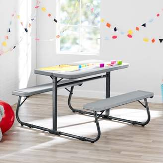 Your Zone Folding Kid's Activity Table with Two Benches, Soft Silver