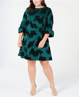 Jessica Howard Plus Size Flocked Velvet Fit & Flare Dress