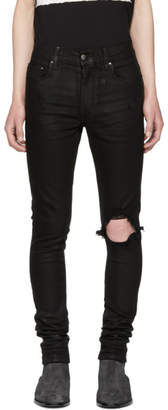 Amiri Black Wax Broken Jeans