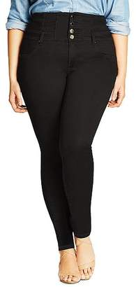 City Chic Plus Harley Corset Skinny Jeans in Black