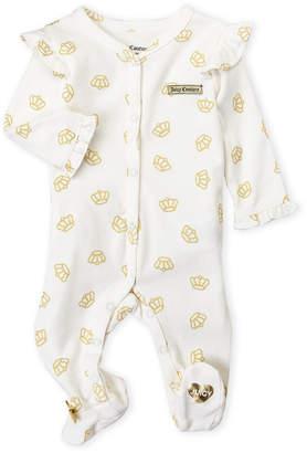 Juicy Couture Newborn Girls) Crown Print Footie