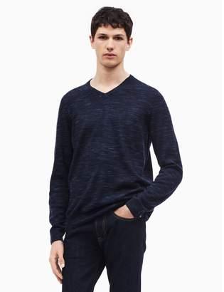 Calvin Klein regular fit merino wool space-dyed v-neck sweater