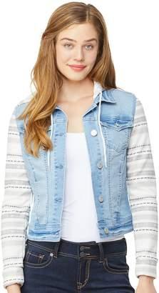 Juniors' Wallflower Dreamer Hooded Knit-Sleeve Denim Jacket