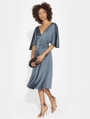Halston RUCHED SIDE DETAIL SATIN DRESS
