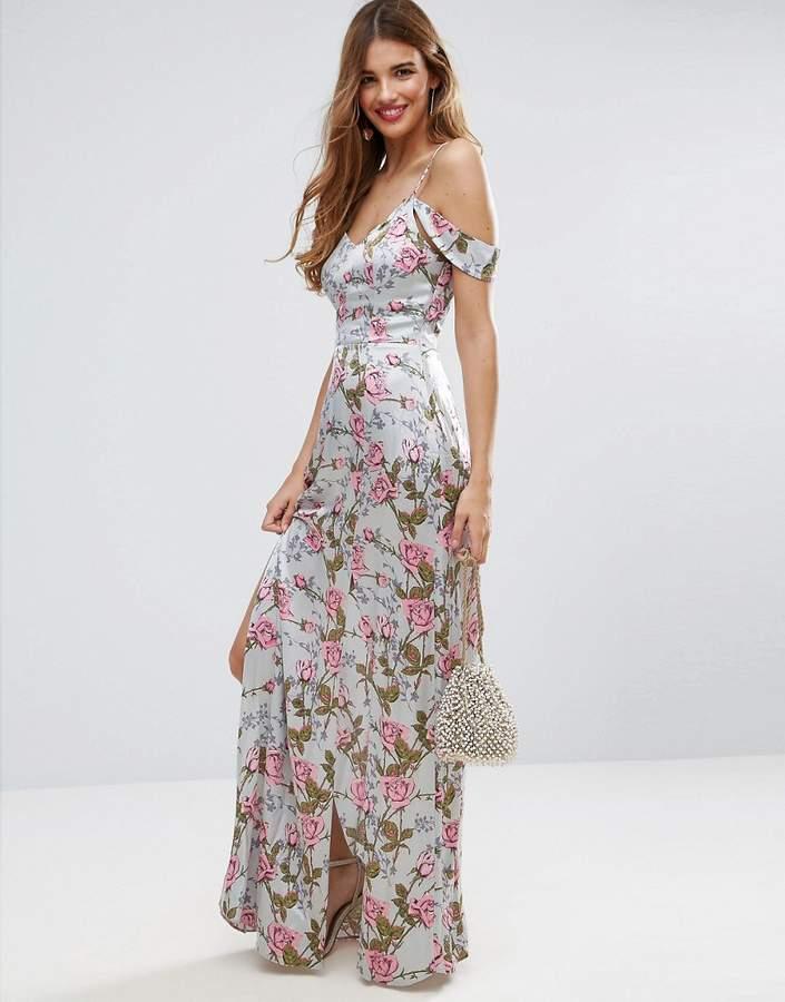 AsosASOS Rose Floral Cold Shoulder Satin Maxi Dress