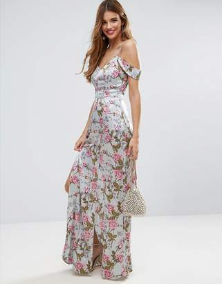 ASOS Rose Floral Cold Shoulder Satin Maxi Dress $83 thestylecure.com