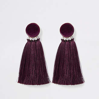 River Island Dark red velvet tassel clip on earrings