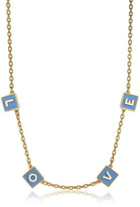 Tory Burch Sunny Blue/New Ivory Enamel and Vintage Gold Brass Message Choker Necklace