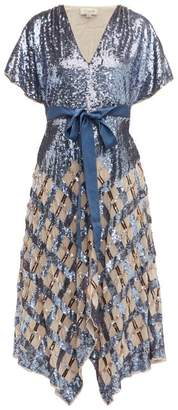 Temperley London Akiko Sequinned Check Tulle Midi Dress - Womens - Blue Multi