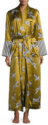 Olivia Von Halle Capability Mona Zebras-Print Silk Robe $1,035 thestylecure.com