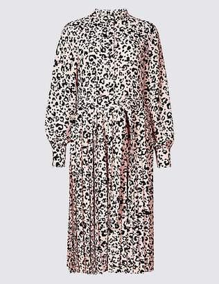 Marks and Spencer Animal Print Long Sleeve Shirt Dress