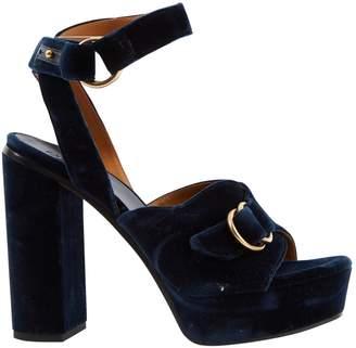 Chloé Blue Velvet Sandals