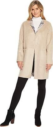 Ellen Tracy Women's Inverted Revere Printed Faux Suede Coat