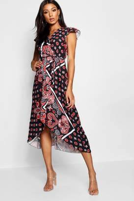 boohoo Paisley Print Wrap Front Maxi Dress