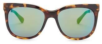 Diane von Furstenberg Women's Metal Brow Cat Eye Sunglasses