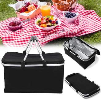 Xmund 46cm x 28cm x 24cm 30L Folding Picnic Bag, Waterproof Insulated Cooler Lunch Bag Outdoor Camping Zip Closure Basket with Carrying Handles