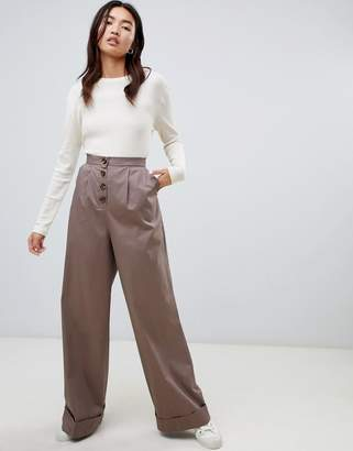 Asos DESIGN Clean Utility Pant PANTS with Exposed Button