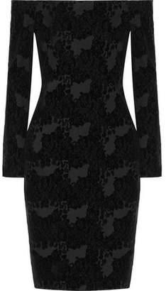 L'Agence Daphne Off-The-Shoulder Flocked Crepe Dress